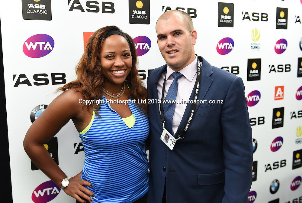 Taylor Townsend (USA) and tournament director Karl Budge. ASB Classic Women's International. ASB Tennis Centre, Auckland, New Zealand. Saturday 3 January 2015. Copyright photo: Andrew Cornaga www.photosport.co.nz