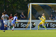 Chelsea Ladies defender Claire Rafferty puts the ball past Notts County Ladies goalkeeper Carly Telford to score for Chelseaduring the FA Women's Super League match between Chelsea Ladies FC and Notts County Ladies FC at Staines Town FC, Staines, United Kingdom on 6 September 2015. Photo by Mark Davies.