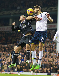 LONDON, ENGLAND - Sunday, November 30, 2014: Everton's Aiden McGeady and Tottenham Hotspur's Federico Fazio during the Premier League match at White Hart Lane. (Pic by David Rawcliffe/Propaganda)