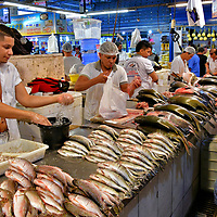 Fish Market at Feira da Manaus Moderna in Manaus, Brazil<br /> The Amazon River has over 2,000 species of freshwater fish. So, it is not surprising fish is a dietary staple of the people living in the Amazon Rainforest. Many residents of Manaus catch their own. Most shop at the fish market inside Feira da Manaus Moderna. According to a recent survey, nearly 62% say their favorite species is tambaqui. In second place are jaraqui shown here (12.8%) and coming in third are pacu (10.6%).