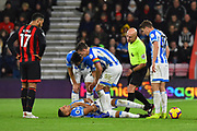 Abdelhamid Sabiri (29) of Huddersfield Town down injured after clashing with Lewis Cook (16) of AFC Bournemouth during the Premier League match between Bournemouth and Huddersfield Town at the Vitality Stadium, Bournemouth, England on 4 December 2018.