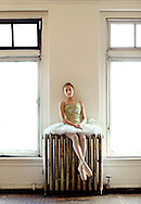 Alexandra Israel,14, from Ashburn, VA, prepares for an audition with the Washington (DC) Ballet. (Photo by Robert Falcetti)