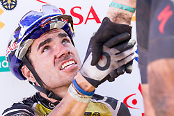 Henrique Avancini of team Cannondale Factory Racing XC congratulated after stage 1 of the 2017 Absa Cape Epic Mountain Bike stage race held from Hermanus High School in Hermanus, South Africa on the 20th March 2017<br /> <br /> Photo by Greg Beadle/Cape Epic/SPORTZPICS<br /> <br /> PLEASE ENSURE THE APPROPRIATE CREDIT IS GIVEN TO THE PHOTOGRAPHER AND SPORTZPICS ALONG WITH THE ABSA CAPE EPIC<br /> <br /> ace2016