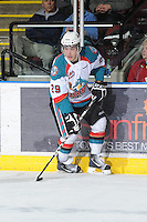 KELOWNA, CANADA - FEBRUARY 18: Myles Bell #29 of the Kelowna Rockets skates with the puck against the  Red Deer Rebels at the Kelowna Rockets on February 18, 2012 at Prospera Place in Kelowna, British Columbia, Canada (Photo by Marissa Baecker/Shoot the Breeze) *** Local Caption ***