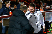 Coventry's manager Mark Robins and Stevenage's manager Darren Sarll shake hands during the EFL Sky Bet League 2 match between Stevenage and Coventry City at the Lamex Stadium, Stevenage, England on 21 November 2017. Photo by Matt Bristow.
