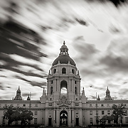 Long Exposure. Clouds move across the sky above the City Hall Building in Pasadena, CA