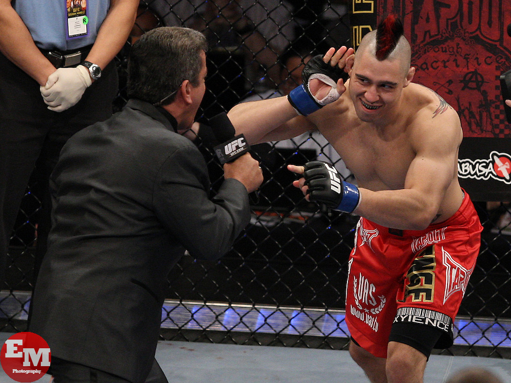 Mar 27, 2010; Newark, NJ, USA; Georges St. Pierre (black trunks) and Dan Hardy (red trunks) fight for the UFC Welterweight Championship at UFC 111 at the Prudential Center in Newark, NJ.  St. Pierre won via unanimous decision.