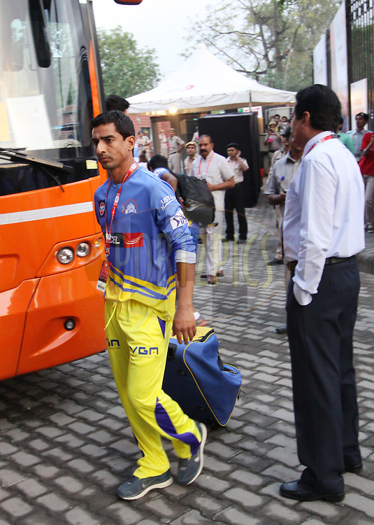 Mohit Sharma of The Chennai Superkings arrive before  match 26 of the Pepsi Indian Premier League Season 2014 between the Delhi Daredevils and the Chennai Superkings held at the Ferozeshah Kotla cricket stadium, Delhi, India on the 5th May  2014Photo by Arjun Panwar / IPL / SPORTZPICSImage use subject to terms and conditions which can be found here:  http://sportzpics.photoshelter.com/gallery/Pepsi-IPL-Image-terms-and-conditions/G00004VW1IVJ.gB0/C0000TScjhBM6ikg
