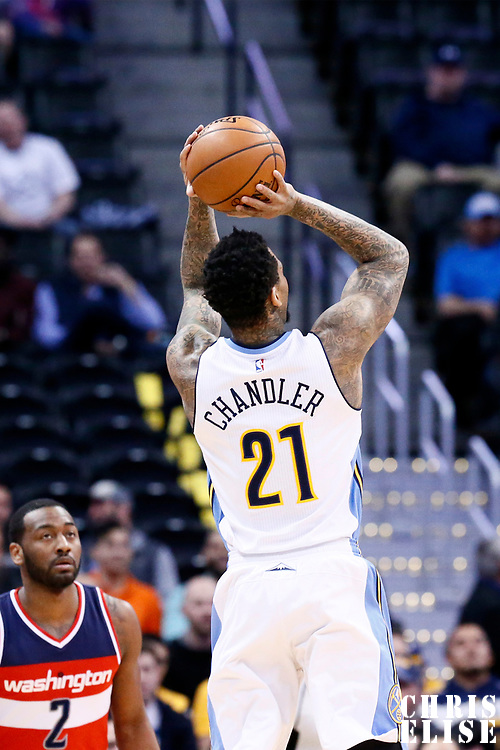 08 March 2017: Denver Nuggets forward Wilson Chandler (21) takes a jump shot during the Washington Wizards 123-113 victory over the Denver Nuggets, at the Pepsi Center, Denver, Colorado, USA.