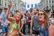 A protest against commercialisation of the march and deportation of gay people stops the march for a while - The annual London Gay Pride march heads from Oxford Circus to Trafalgar Square.