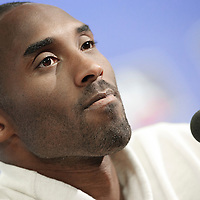 04 October 2010: Los Angeles Lakers guard Kobe Bryant #24 is seen during the press conference following the Minnesota Timberwolves 111-92 victory over the Los Angeles Lakers, during 2010 NBA Europe Live, at the O2 Arena in London, England.