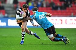 Dmitrii Gerasimov of Enisei-STM tackles Luke Daniels of Bristol Bears - Mandatory by-line: Nizaam Jones/JMP - 19/01/2019 - RUGBY - Ashton Gate Stadium - Bristol, England - Bristol Bears v Enisei-STM - European Rugby Challenge Cup