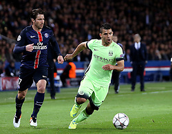 Sergio Aguero of Manchester City runs with the ball past Maxwell of Paris Saint-Germain - Mandatory by-line: Robbie Stephenson/JMP - 06/04/2016 - FOOTBALL - Parc des Princes - Paris,  - Paris Saint-Germain v Manchester City - UEFA Champions League Quarter Finals First Leg