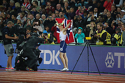 London, August 09 2017 . Karsten Warholm, Norway, celebrates his world championship in the men's 400m hurdles final on day six of the IAAF London 2017 world Championships at the London Stadium. © Paul Davey.