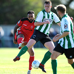 TELFORD COPYRIGHT MIKE SHERIDAN 29/9/2018 - Matthew Barnes Holmer of AFC Telford shoots under pressure from Nathan Buddle of Blyth during the Conference North fixture between Blyth Spartans and AFC Telford United at Croft Park, Blyth.