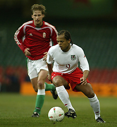 CARDIFF, WALES - WEDNESDAY FEBRUARY 9th 2005: Wales' Robert Earnshaw in action against Hungary during the International Friendly match at the Millennium Stadium. (Pic by Jason Cairnduff/Propaganda)