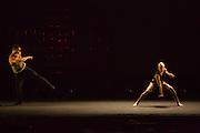 "Two dancers in Wen Wei Wang's ""Night Box"", inspired by urban night life."