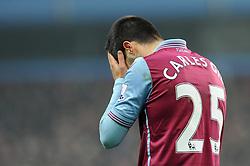 Carles Gil of Aston Villa cuts a dejected figure - Mandatory byline: Dougie Allward/JMP - 13/12/2015 - Football - Villa Park - Birmingham, England - Aston Villa v Arsenal - Barclays Premier League