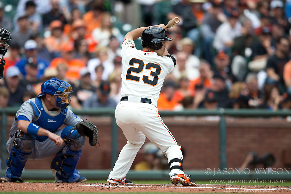 SAN FRANCISCO, CA - MAY 21:  Nori Aoki #23 of the San Francisco Giants at bat against the Los Angeles Dodgers during the first inning at AT&T Park on May 21, 2015 in San Francisco, California.  The San Francisco Giants defeated the Los Angeles Dodgers 4-0. (Photo by Jason O. Watson/Getty Images) *** Local Caption *** Nori Aoki