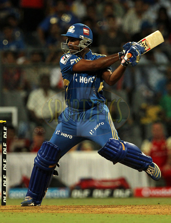 Mumbai Indian player Ambati Rayudu plays a shot during match 54 of the Indian Premier League ( IPL) 2012  between The Mumbai Indians and the Royal Challengers Banglore held at the Wankhede Stadium in Mumbai on the 9th May 2012..Photo by Vipin Pawar/IPL/SPORTZPICS.