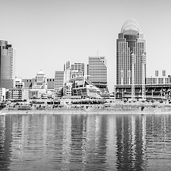 Cincinnati panorama black and white photo. Picture includes Cincinnati panoramic skyline and downtown city buildings with Great American Ballpark, Great American Insurance Group Tower, PNC Tower building, Omnicare building, US Bank building, Carew Tower building, Scripps Center building, and US Bank Area. Photo was taken in July 2012. Panorama ratio is 1:3 and is extremely high resolution at 12,000 x 4,000 pixels.