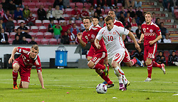 AALBORG, DENMARK - Saturday, June 11, 2011: Switzerland's Xherdan Shaqiri (FC Basel 1893) scores the first goal against Denmark during the UEFA Under-21 Championship Denmark 2011 Group A match at the Aalborg Stadion. (Photo by Vegard Grott/Propaganda)