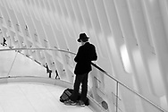 Man with a hat at the Calatrava Oculus in Battery Park City.