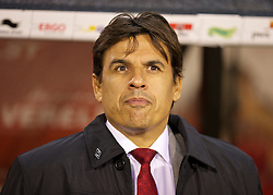 BRUSSELS, BELGIUM - Tuesday, October 15, 2013: Wales' manager Chris Coleman before the 2014 FIFA World Cup Brazil Qualifying Group A match against Belgium at the Koning Boudewijnstadion. (Pic by David Rawcliffe/Propaganda)