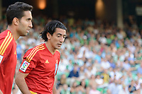 Huelva's players A.J. Rios (R) and Montoro (L)  during the match between Real Betis and Recreativo de Huelva day 10 of the spanish Adelante League 2014-2015 014-2015 played at the Benito Villamarin stadium of Seville. (PHOTO: CARLOS BOUZA / BOUZA PRESS / ALTER PHOTOS)