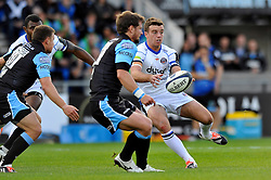 George Ford of Bath Rugby passes the ball - Photo mandatory by-line: Patrick Khachfe/JMP - Mobile: 07966 386802 18/10/2014 - SPORT - RUGBY UNION - Glasgow - Scotstoun Stadium - Glasgow Warriors v Bath Rugby - European Rugby Champions Cup