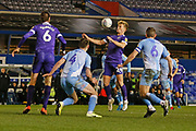 Portsmouth midfielder Cameron McGeehan chests the ball during the EFL Sky Bet League 1 match between Coventry City and Portsmouth at the Trillion Trophy Stadium, Birmingham, England on 11 February 2020.