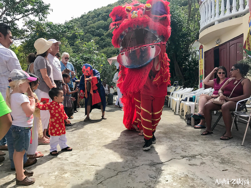 Nadia Dudkin and Maeven Parsil entertain the crowd as a Chinese Dragon as Robert Ba-at rings the gong and awakens the dragon to ring in the Chinese New Year.  It's Chinese New Year at the Nirvana Healing Temple.  29 January 2017.  St. Thomas, USVI.  © Aisha-Zakiya Boyd