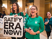 05 MARCH 2020 - ST. PAUL, MINNESOTA: Women cheer at a rally in support of the ERA in the rotunda at the Minnesota State Capitol. About 75 people, mostly women, came to the capitol to support ratification of the Equal Rights Amendment and mark the local observance of International Women's Day. International Women's Day is celebrated on March 8 around the world.   PHOTO BY JACK KURTZ