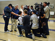 Dec. 10 2011; Phoenix, AZ, USA; Phoenix Suns guard Steve Nash (13) answers questions during training camp at Grand Canyon University. Mandatory Credit: Jennifer Stewart-US PRESSWIRE.