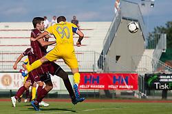 Stojnic Petar of NK Triglav & Husman Zeni of NK Domzale during football match between NK Triglav Kranj and NK Domzale, 5th Round of Prva Liga, on 12 August, 2012, in Sportni center, Kranj, Slovenia. (Photo by Grega Valancic / Sportida)