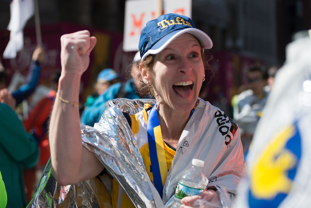 4/18/16 – Boston, MA – Pamela Schroeder walks away from the finish of the 2016 Boston Marathon on April 18, 2016. (Sofie Hecht / The Tufts Daily)