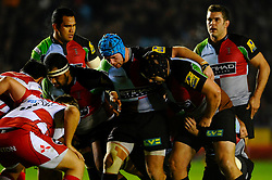Harlequins front row scrum down during the first half of the match - Photo mandatory by-line: Rogan Thomson/JMP - Tel: Mobile: 07966 386802 03/11/2012 - SPORT - RUGBY - Twickenham Stoop - London. Harlequins v Gloucester - Aviva Premiership