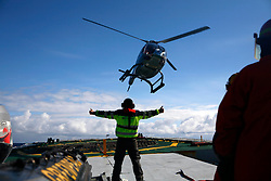 ATLANTIC OCEAN ABOARD ARCTIC SUNRISE 22MAY11 - Heli ops aboard the Greenpeace ship Arctic Sunrise...Photo by Jiri Rezac / Greenpeace