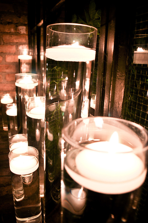 Candles twinkling at A New Leaf in Chicago, IL