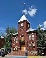 USA: Colorado: San Miguel County: Telluride: Historic San Miguel County Courthouse on Colorado Avenue at Oak Street.