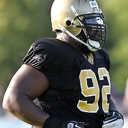 August 9, 2011; Metairie, LA, USA; New Orleans Saints defensive tackle Shaun Rogers (92) during training camp practice at the New Orleans Saints practice facility. Mandatory Credit: Derick E. Hingle