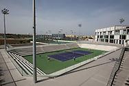 Rafa Nadal Academy in Manacor, Mallorca, Centre Court von oben, im Hintergrund die Schule,<br /> <br />  - Rafa Nadal Academy -  -  Rafa Nadal Academy - Manacor - Mallorca - Spanien  - 24 October 2016. <br /> &copy; Juergen Hasenkopf
