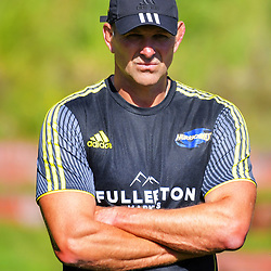 Hurricanes assistant coaches John Plumtree (left) and Darren Larsen. Hurricanes rugby union training at Rugby League Park in Wellington, New Zealand on Wednesday, 24 January 2018. Photo: Dave Lintott / lintottphoto.co.nz