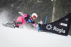 Ekaterina Tudegesheva (RUS) competes during Qualification Run of Women's Parallel Giant Slalom at FIS Snowboard World Cup Rogla 2016, on January 23, 2016 in Course Jasa, Rogla, Slovenia. Photo by Ziga Zupan / Sportida