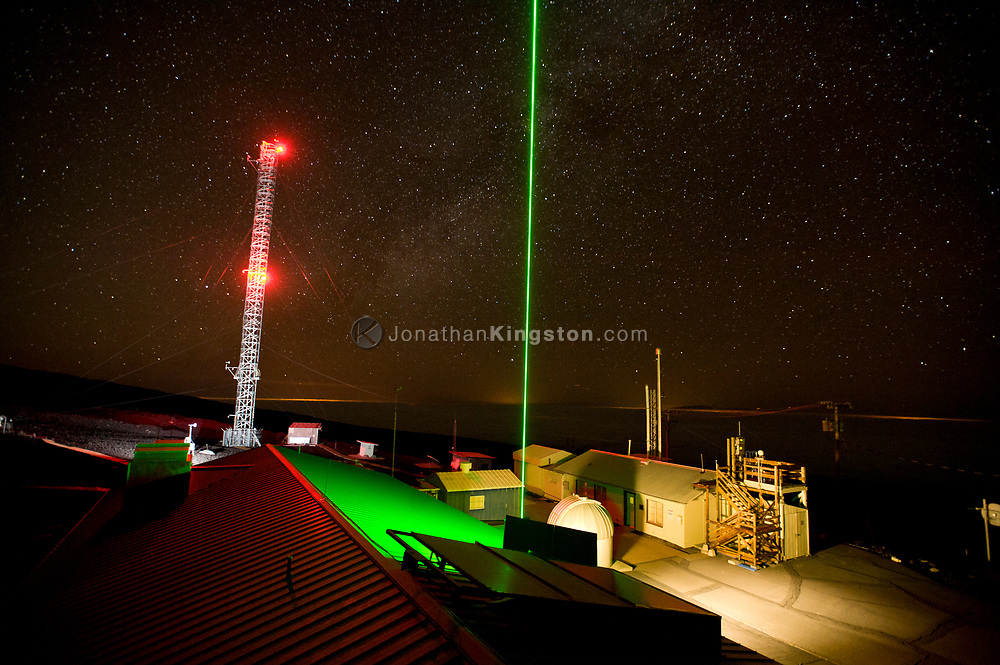 The Lidar laser and air sampling tower at the Mauna Loa Observatory, Hawaii.  Lidar is used for long term monitoring of the stratospheric aerosol layer and can detect changes of airborne particulate matter such as airborne volcanic ash.  Stratospheric aerosols cool the earth by reflecting light back into space.