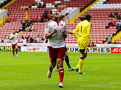 Marc McNulty of Sheffield United celebrates after scoring the equalising goal for 1-1 Mandatory by-line: Matt McNulty/JMP - 26/07/2015 - SPORT - FOOTBALL - Sheffield,England - Bramall Lane - Sheffield United v Newcastle United - Pre-Season Friendly