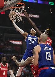 October 21, 2018 - Los Angeles, California, U.S - Tobias Harris #34 of the Los Angeles Clippers does a layup during their NBA game with the Houston Rockets on Sunday October 21, 2018 at the Staples Center in Los Angeles, California. (Credit Image: © Prensa Internacional via ZUMA Wire)
