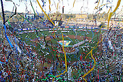 LOS ANGELES, CA - MARCH 23: General view of the field from overhead as streamers are fired off during pregame ceremonies as Japan gets ready to play against Korea in the final game of the 2009 World Baseball Classic at Dodger Stadium in Los Angeles, California on Monday March 23, 2009. Japan defeated Korea 5-3 in ten innings. (Photo by Paul Spinelli/WBCI/MLB Photos)