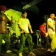 Asian Dub Foundation on stage. An event billed as 'We need to talk about Fracking was held at the Rollerdisco venue in London to raise awareness about fracking. Fracking is a highly controversial method of extracting gas underground. The line-up included Alabama 3 and the Asian Dub Foundation and DJs Gavin Turk and Mark Stewart and Pandit G.