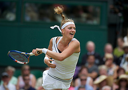 LONDON, ENGLAND - Saturday, July 2, 2011: Petra Kvitova (CZE) in action during the Ladies' Singles Final on day twelve of the Wimbledon Lawn Tennis Championships at the All England Lawn Tennis and Croquet Club. (Pic by David Rawcliffe/Propaganda)